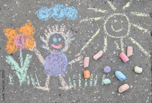 sidewalk spring chalk painting with sun, flower and doll - 80789000