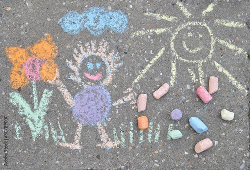 Leinwanddruck Bild sidewalk spring chalk painting with sun, flower and doll