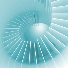 Abstract blue and white spiral structure perspective