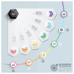 Modern Hexagon Round Rotate Step Business Infographic Diagram
