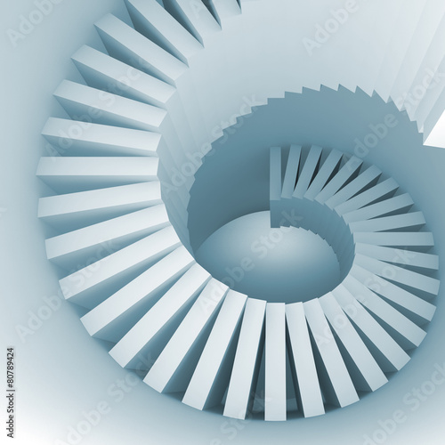 Abstract blue white spiral interior perspective with stairs
