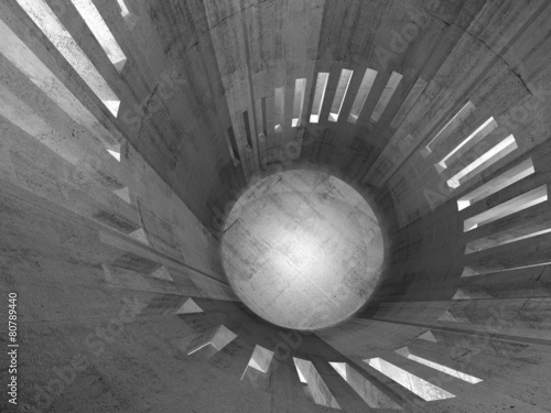 Abstract 3d concrete round tower interior with windows