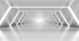 Fototapety Abstract illuminated empty white corridor interior