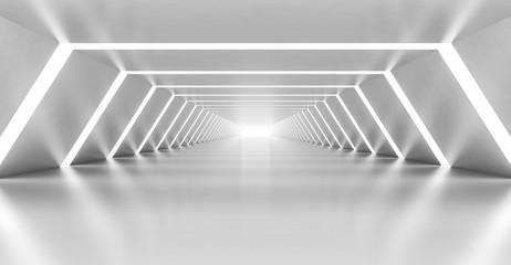 Abstract illuminated empty white corridor interior