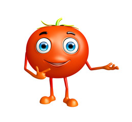 Tomato character with presentation pose