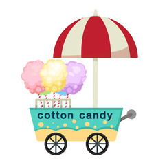 cart stall and cotton candy vector