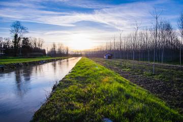 Strada e canale di campagna al tramonto