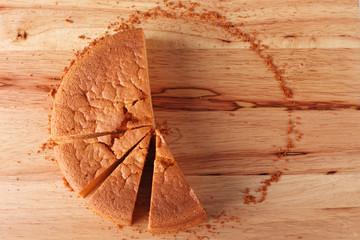fresh baked cake on wood table
