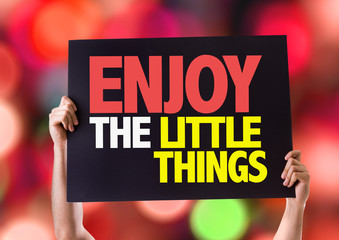 Enjoy the Little Things card with bokeh background