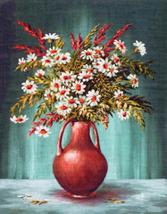 Bouquet Of Flowers in a Clay Vase