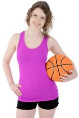 Frau mit Baskettball beim Training