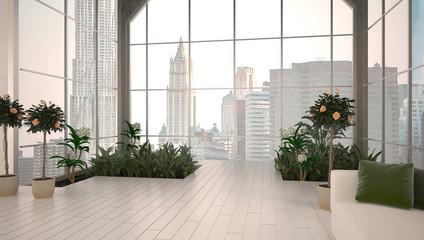 Appartamento, attico con serra, rendering 3d, interior