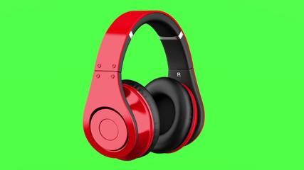 red and black wireless headphones loop rotate on green