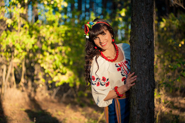 Portrait of beautiful ukrainian woman  smilling outdoors