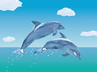 Two Low Poly Dolphins jumping Vector Illustration