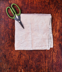 scissors on the kitchen towel