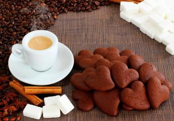 Caffè e cuori al cacao