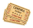 Retro cinema tickets on white background, vector - 80794830