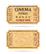 Retro cinema ticket and empty ticket - 80794846