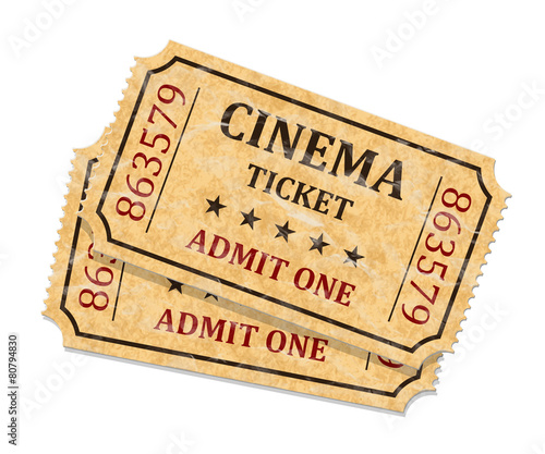 Zdjęcia na płótnie, fototapety, obrazy : Retro cinema tickets on white background, vector