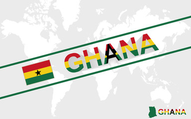 Ghana map flag and text illustration