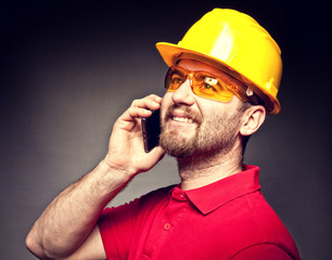 worker with mobile
