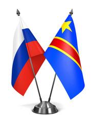 Russia and Democratic Republic Congo - Miniature Flags.