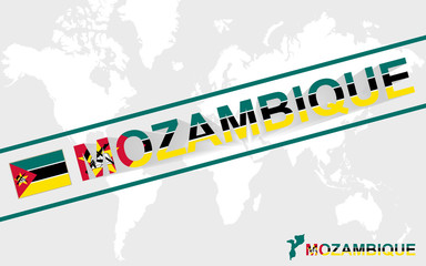 Mozambique map flag and text illustration