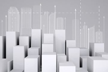 Minimalistic city of white cubes with wire-frame buildings and