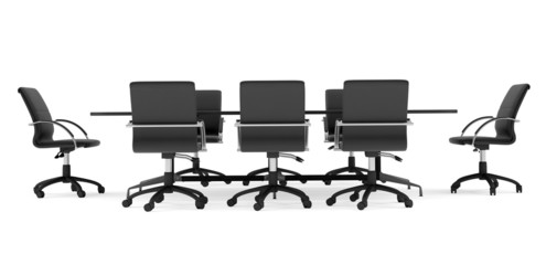 Business conference table with chairs. Isolated