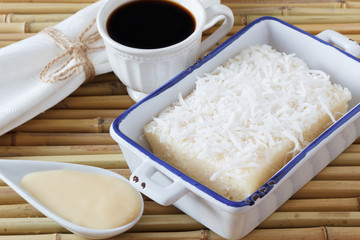 Sweet couscous (tapioca) pudding (cuscuz doce) with coconut, cup