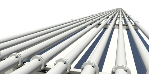 Many industrial pipes stretching into distance. Isolated