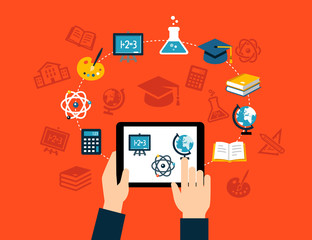 E-learning or online training concept. Flat design style.