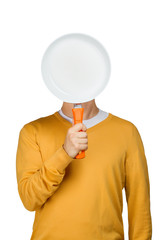 Man with a blank pan
