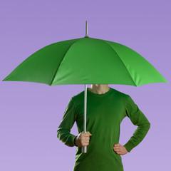 Man with green umbrella