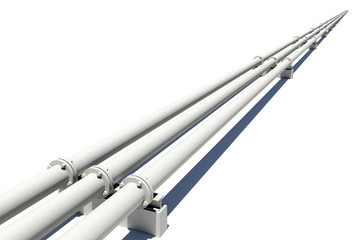 Three white industrial pipes stretching into distance. Isolated