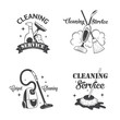 Set of vintage logos, labels and badges cleaning services - 80797217