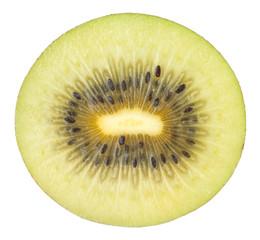Cross-section of kiwifruit isolated on white