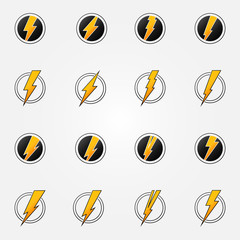 Lightning icons vector concept set