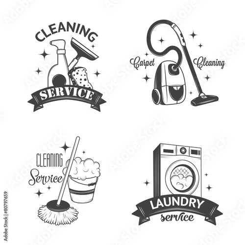 Set of vintage logos, labels and badges cleaning services - 80797659