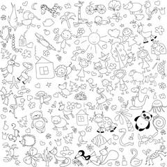 Детские рисунки каракули животных, людей, цветов