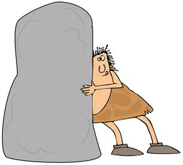 Caveman pushing a large boulder