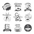 Set of vintage logos, labels and badges cleaning services - 80798225