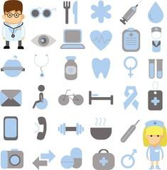 Набор для мобильных и веб-набор векторных медицины  иконки