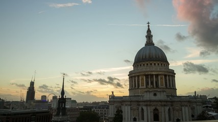 HD time lapse of sunset over St Paul's Cathedral, London