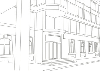 linear architectural sketch building entrance