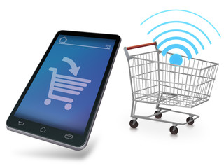 Mobile device making purchases online