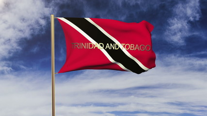 Trinidad and Tobago flag with title waving in the wind. Looping
