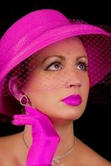 Retro Lady In Fuchsia/Hot Pink Hat