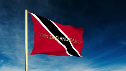 Trinidad and Tobago flag slider style with title. Waving in the